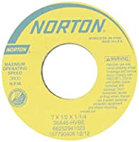 "Norton 38A80-KVBE Type 01 Vitrified Straight Toolroom Grinding Wheel, Aluminum Oxide, 7"" Diameter x 1/2"" Width, 1-1/4"" Arbor, 80 Grit, Grade K, White (Pack of 1)"