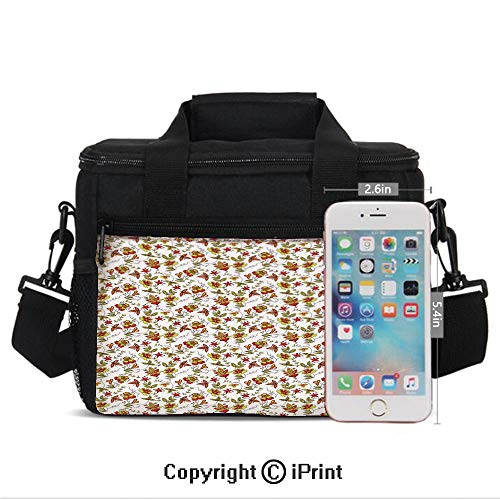 Insulated Lunch Box Vintage Fabric Design Style Traditional Exotic Plants Flowers Pattern Fall Colors Print Portable Lunch Bag Reusable Carry Boxes Cooler Tote Bag for School Work Office Picnic Gym,