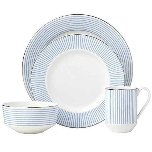 Blue Porcelain Light (Kate Spade New York Laurel Street 4-Piece Dinnerware Set, White and Light-Blue Porcelain)