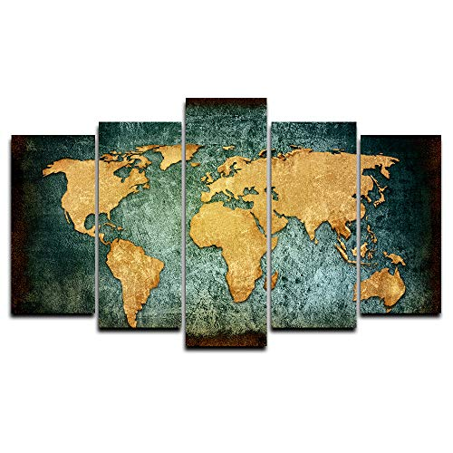 Faicai Art Old Dark Green Gold Abstract World Map Canvas Paintings Wall Art 5 Piece Prints HD Printed Large Wall Poster Artwork Pictures for Home Decor Living Room Office Framed Ready to Hang 60