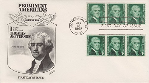 1 Cent Regular Thomas Jefferson Coil Issue Jan 12 1968 First Day Of Issue Collectible Cover