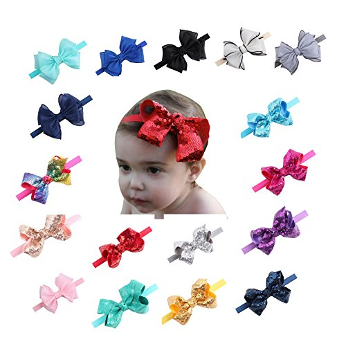Clearance! 14pcs Cute Baby Girls Headbands Sparkly Glitter Sequins Big Hair Bows Ribbon Soft Stretchy Hair Bands Accessories (Multicolor) -
