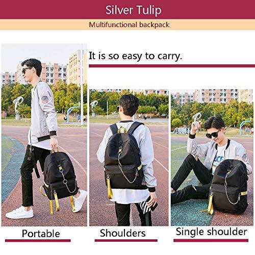 Jaune à Sacs USB Voyage College toile avec bandoulière Silver en Sac port Sacs Noir Tulip à Filles enfants dos pour d'école qxtnSXRnw4