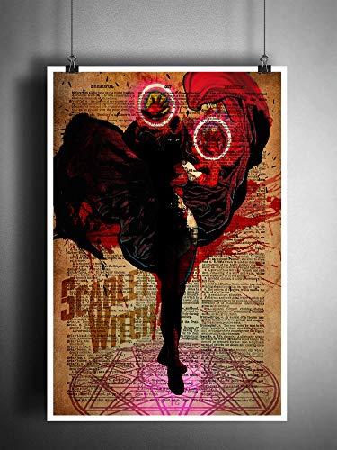 51jt5LpDGzL Scarlet Witch original superhero art print on vintage dictionary page