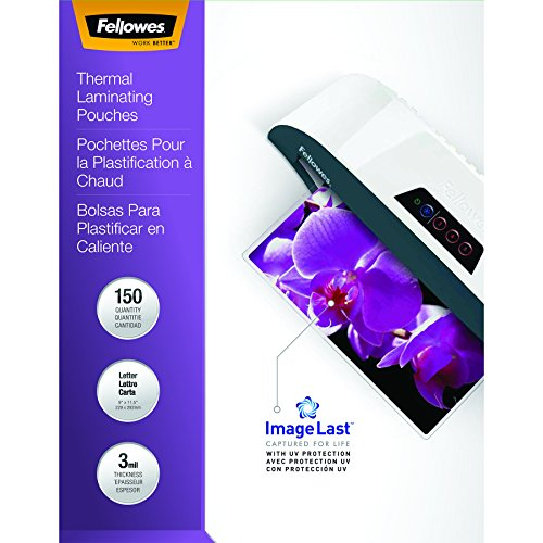 Fellowes Thermal Laminating Pouches, ImageLast, Letter Size, 3 Mil, 150 Pack (3 Mil Letter Laminating Pouch)