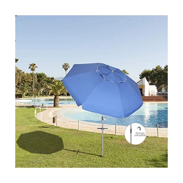 Papillon - 8042665, Ombrellone da spiaggia in alluminio, diametro 220 cm, con manici e spirale per l'ancoraggio… 3 spesavip