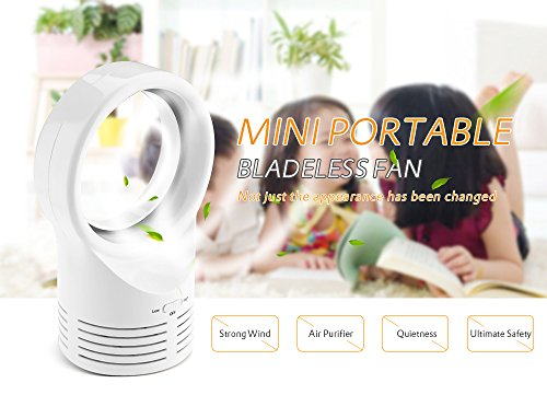 Kidsidol Bladeless Fan Mini USB Portable Air Purifier Desk Fan Safe for Children Easy to Clean Necessary Tool In Hot Summer for Home Office Outdoor Traveling Using (White) by Kidsidol (Image #1)