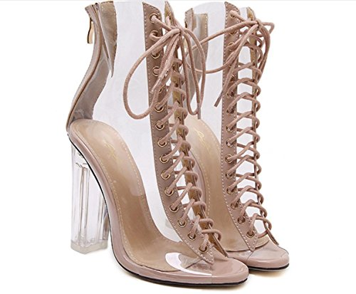 YCMDM donne Peep Toe Pumps tacco alto di cristallo spessi sandali tacco a set da tavola impermeabile Ufficio Shoes Filati Scarpette Scarpe , apricot , 35