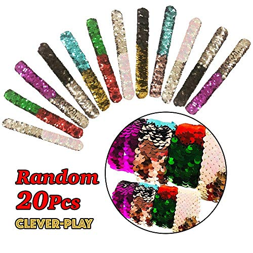 20 Pack Mermaid Bracelet, Birthday Party Favors Supplies Gifts Toys, Cleverplay Little Magic Reversible Charm Flip Sequins Slap Bracelets Wristband for Kids,Girls,Boys by Cleverplay