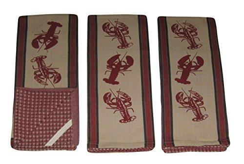 Lobsters on Tan, Dark Red, Black Cotton Kitchen Dish Towels Set (3 ()