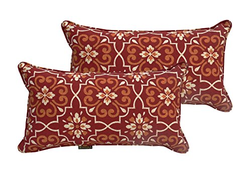 Bossima Indoor/Outdoor Red Damask Rectangle Toss Pillow, Seasonal Replacement Cushions,Corded Cushion Set of 2 (Outdoor Replacements Cushion Furniture)