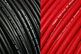 TEMCo WC0053 - 50' (25' Blk, 25' Red) 1/0 Gauge AWG Welding Lead & Car Battery Cable Copper Wire BLACK + RED | MADE IN USA