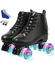حذاء تزلج للسيدات باربع عجلات ورقبة عالية مصنوع من جلد البولي يوريثان، احذية تزلج لامعة للفتيات