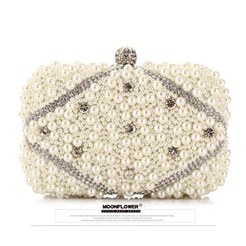 perline beige artigianali ricamato banchetto borsa sera pacchetto con sera Borsa Chaozhou donna all'ingrosso coreano Vola Moonlight da New stile Flower Chaobao wSTRxFq