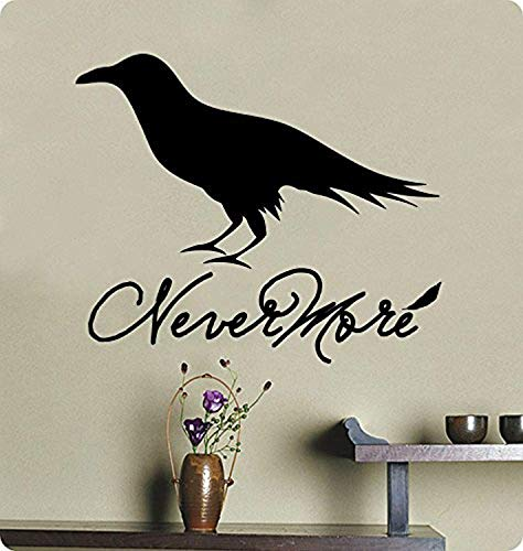 Profit Decal Sayings Nevermore The Raven Poe Poetry Halloween Dark ScaryRemovable Wall Decals Decor Vinyl Sticker Q5581 -