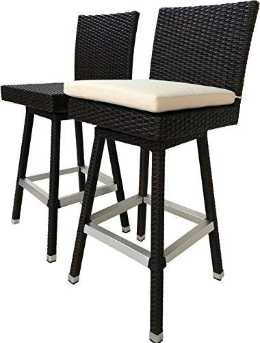 LB LAURA BENASSE LIVE THE DESIGN 30 inch Outdoor Bar Stools Set of 2 - Patio Bar Swivel Chair Set, All Weather Rattan Wicker Patio Furniture with Cushions, in Espresso