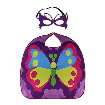 LUOEM Capa de Mariposa Disfraz de Halloween Cosplay Animal Wings Cabo Máscara Set Accesorio de Fiesta