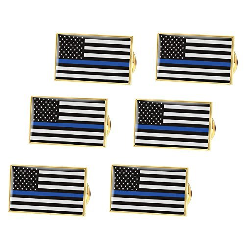 - BESTOMZ American Flag Pin Thin Blue Line Police Lapel Pin Pack of 6
