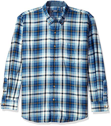 IZOD Men's Stratton Long Sleeve Button Down Plaid Flannel Shirt, Legacy Denim, Large