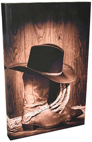 wall26 12 inch by 18 inch black felt hat atop worn western boots vintage style canvas giclee prints wall art west rodeo cowboy - Cowboy Decor
