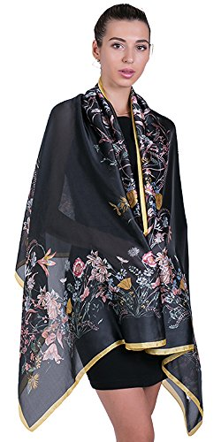 Women Long Large Lightweight Satin Scarves Black Sunscreen Printed Shawl Wrap Headscarf ()