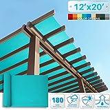 Patio Paradise 12' x 20' Sunblock Shade Cloth Roll,Turpoise Green Sun Shade Fabric 95% UV Resistant Mesh Netting Cover Outdoor,Backyard,Plant,Greenhouse,Barn