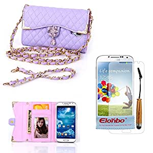 Elonbo TM Purple Fashion Wristlet Diamond PU Leather Full Body Protector Chains Hangbag Pouch Folio Wallet Case Cover Skin For Samsung Galaxy S4 IV i9500+ Cleaning Cloth+ Touch Pen Stylus + Front Screen Protector