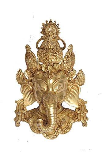 "Statuestudio Ganesha Wall Hanging Brass Head 15"" Gold"