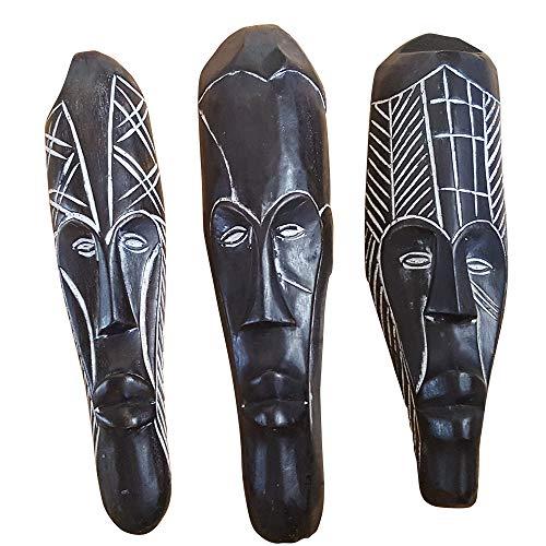 NOVARENA African Art Wooden Figurine Cameroon Gabon Congo Fang Wood Wall Masks and Sculptures - Africa Home Mask Decor (Set of 3 Black Fang Wall Masks, 12 Inches)