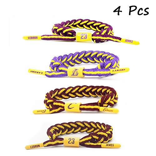 FANwenfeng Basketball Star James Wristband Hand Weave Adjustable Shoelace Bracelet 4 Pcs