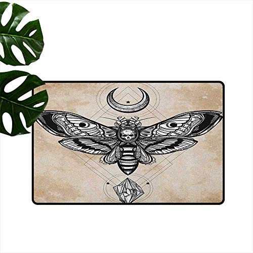 Fantasy Large Outdoor Indoor Rubber Doormat Dead Head Hawk Moth with Luna and Stone Spiritual Magic Skull Illustration Personality W19 x L31 Black White Cream
