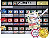 """all about number chart - NEATLINGS Chore System - Chore Chart for Kids   80+ Chores for Toddlers to Teens   Customize for 1-3 Kids   Size 25""""x18""""   Teal Household Chore Cards/Dark Blue, Red, Yellow Self-Care Chore Cards"""