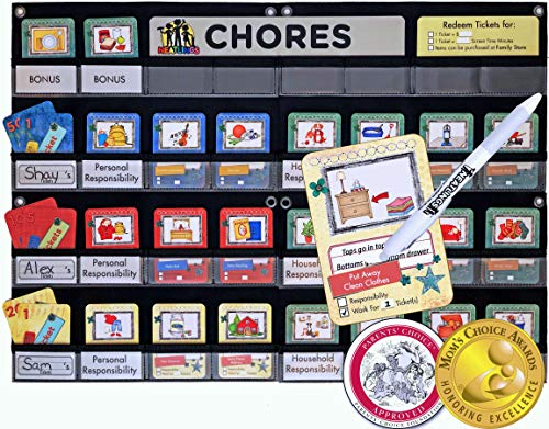 NEATLINGS Chore System - Chore Chart for Kids | 80+ Chores for Toddlers to Teens | Customize for 1-3 Kids | Size 25
