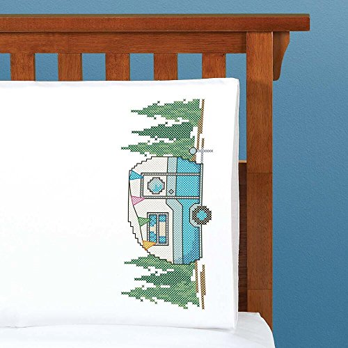 Herrschners® Retro Camper Pillowcase Pair Stamped Cross-Sti