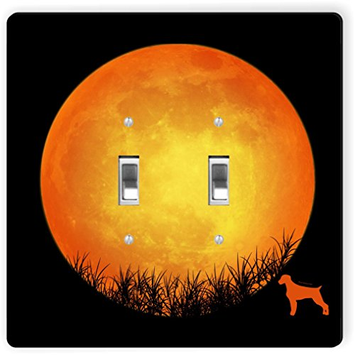 Rikki Knight RK-LSPDBL-41380 Double Toggle German Wirehaired Pointer Dog Silhouette By Moon Design Light Switch Plate
