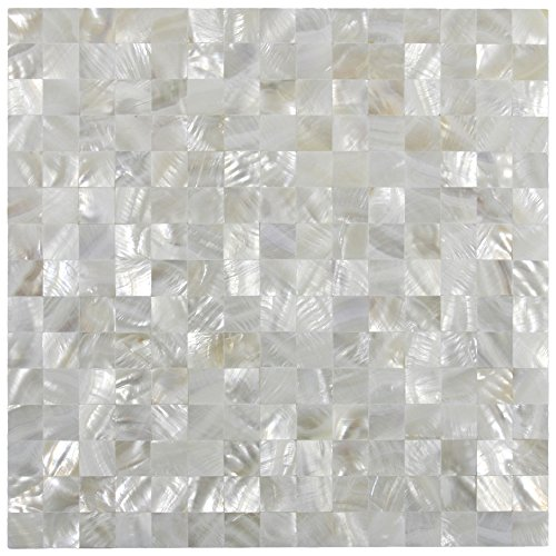 White Square Groutless Pearl Shell Tile 1 sq.ft ()