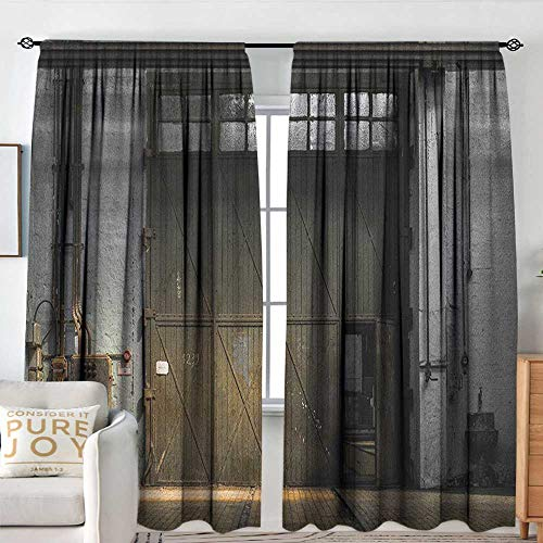 Blackout Curtains for Bedroom/Living Room Industrial,Enter of an Old Factory Building from 50s Broken Rusty Door Empty Storage Photo, Grey Brown,Insulated Draperies for Office Nursery 72