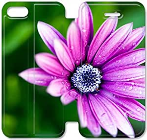 Elegant Printing Daisy Flower-6 iPhone 4 4S Leather Flip Case