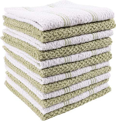 KAF Home Pantry Piedmont Dish Cloths (Set of 12, 12x12 inches), 100% Cotton, Ultra Absorbent Terry Towels - (Stripe Sage Green)