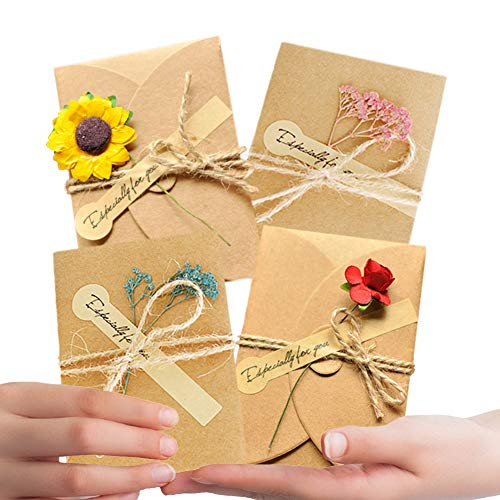 Qubie DIY Cards Thank You Greeting Card Handmade Flower Postcard for All Occasions Invitation Letter 12 Pack