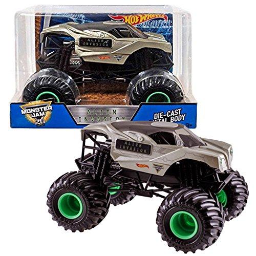 Monster Jam Hot Wheels Year 2017 1:24 Scale Die Cast Metal Body Truck - ALIEN INVASION with Monster Tires, Working Suspension and 4 Wheel Steering