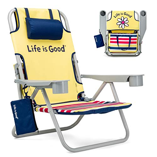 Life is Good Beach Chair with Cooler, Backpack Straps, Storage Pouch and Cup Holder (Daisy Yellow)
