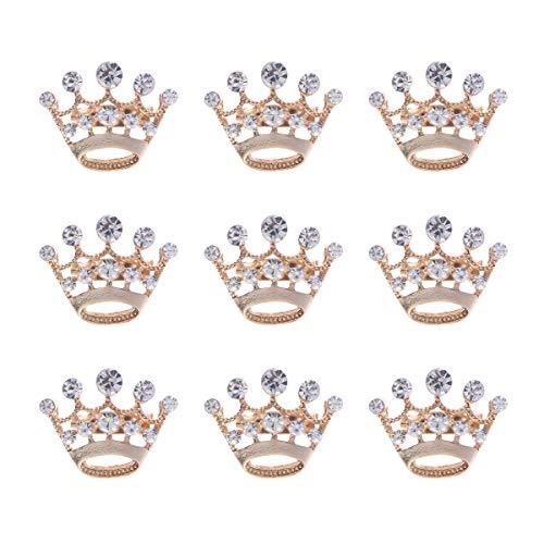 WINOMO Broach Diamante Wedding Party Pageant Tiara Crown Corsage Brooch Pin 12-Pack (Gold)