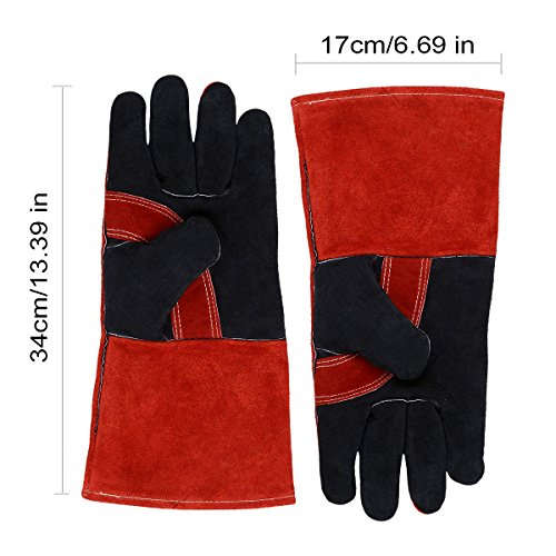 Leather Welding Gloves BOWOO Stitching Heat Resistant Glove for Tig/Mig/Stick/Gardening 14IN,1 pair (Red-Black) by BOWOO (Image #2)