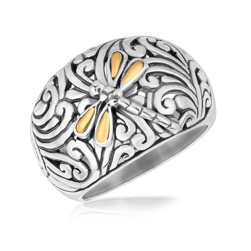 18K Yellow Gold and Sterling Silver Dragonfly Accented Domed Style Ring by Jewels By Lux