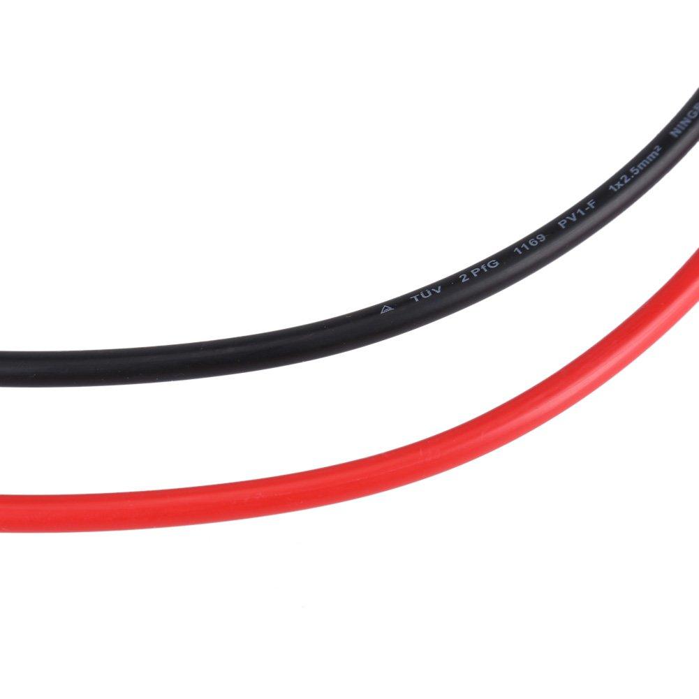 Garosa Juego de 2.5 mm de Conectores MC4 Par de Rojo Negro Panel Solar Cable Fotovoltaico Adaptador Paralelo Cable Enchufe Kit De Herramientas Cable Macho Hembra Conectores MC4
