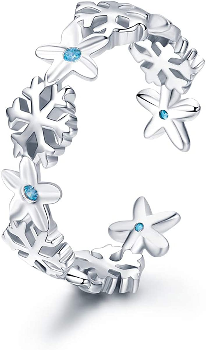 WOSTU 925 Sterling Silver Snowflake Rings Adjustable Rings for Women Girls for Her