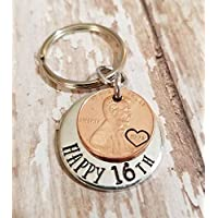 Lucky 2004 Penny Happy 16th Birthday Gift with a Copper Coin Key Chain