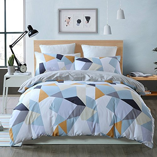 BuLuTu Bedding Geometric Kids Duvet Cover Sets Queen White For Boys Girls 100% Cotton Luxury Full Bedding Cover Sets Hidden Zipper Closure With 4 Corner Ties (No (Contemporary Duvet Sets)