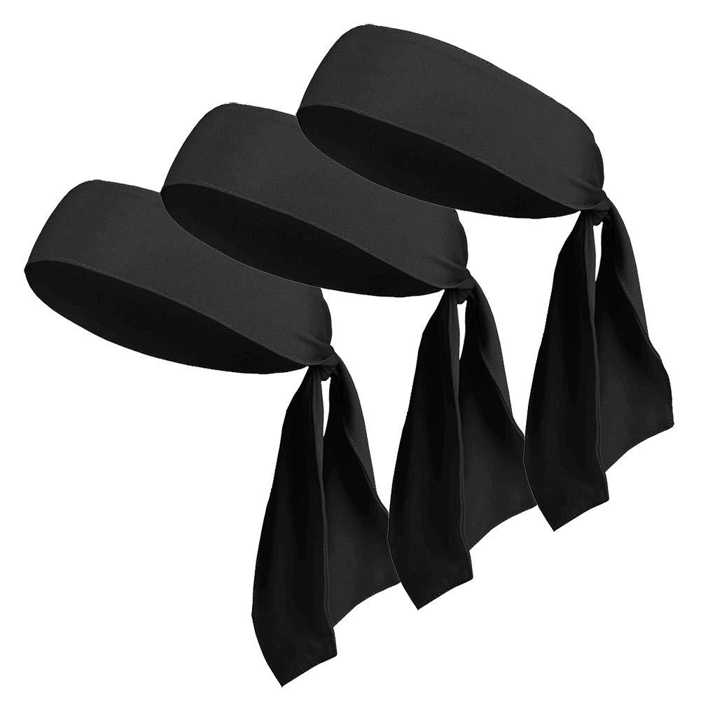 Head Tie Headbands for Men Women Kids Girls Boys, Sports Headbands Bulk No Slip for Karate Tennis Softball Pirate Workout Soccer (3Pack Black)